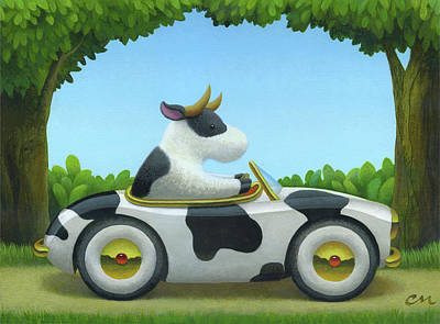 Wall Art - Painting - Cow Car by Chris Miles