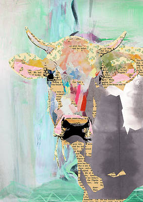Cow Mixed Media - Cow Collage by Claudia Schoen