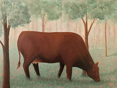 Painting - Cow Grazing On Clover by KJ Burk
