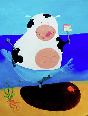 Snack Time Painting - Cow In A Lake Eating Cake by Lael Borduin