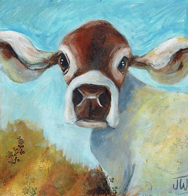 Painting - Cow In The Meadow by June Walker