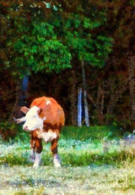 Photograph - Cow In The Meadow - Swish by Janine Riley