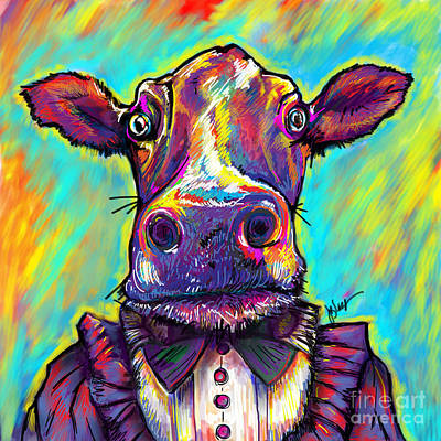 Insane Painting - Cow In Victorian Dress by Julianne Black