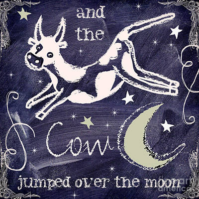 Cow Wall Art - Painting - Cow Jumped Over The Moon Chalkboard Art by Mindy Sommers