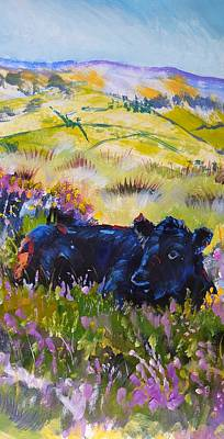 Drawing - Cow Lying Down Among Plants by Mike Jory
