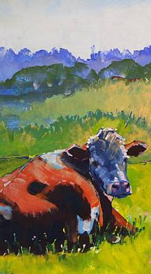 Drawing - Cow Lying Down On A Sunny Day by Mike Jory