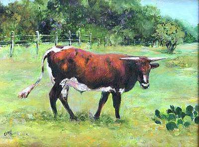 Painting - Cow out to pasture by Cheryl Green