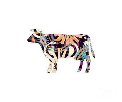 Farmanimals Digital Art - Cow-p3-d by PIA Schneider