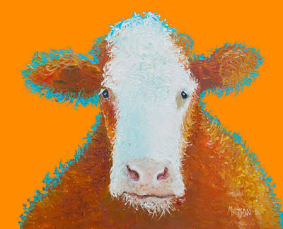 Cow Painting - Brown Hereford Art Print
