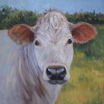 Painting - Cow Painting Ms Ivory by Cheri Wollenberg
