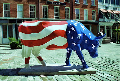 Photograph - Cow Parade N Y C  2000 - Americow The Beautiful by Allen Beatty