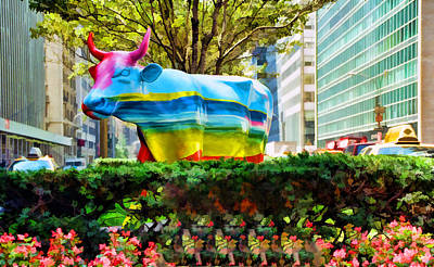 Photograph - Cow Parade N Y C  2000 - Maxine By Peter Max by Allen Beatty