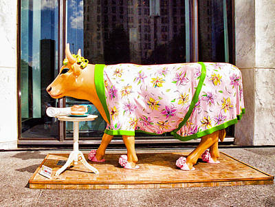 Photograph - Cow Parade N Y C  2000 - The Early Show Cow by Allen Beatty