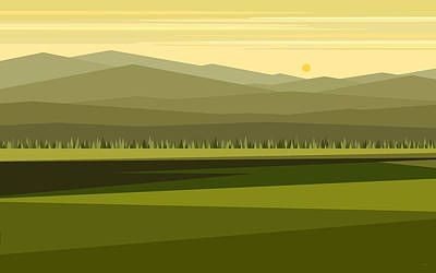 Digital Art - Cow Pass Spring Green by Val Arie