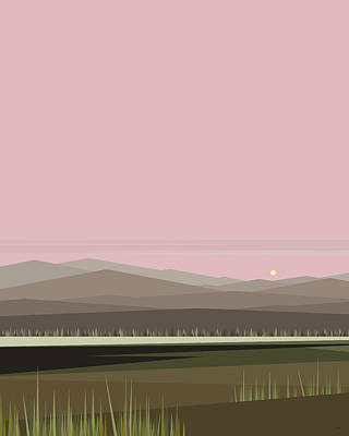 Digital Art - Cow Pass Sunrise - Light Pink by Val Arie