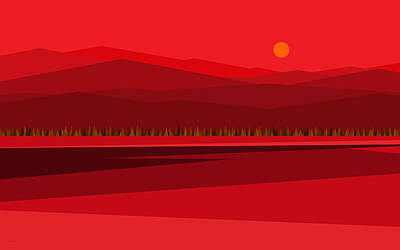 Digital Art - Cow Pass Sunrise - Red by Val Arie