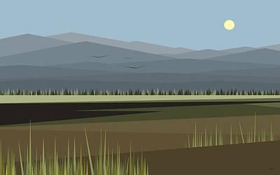 Digital Art - Cow Pass Under A Blue Sky by Val Arie