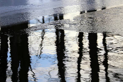 Photograph - Cow Pond Brook Reflections With Ice 2 by Mary Bedy