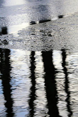 Photograph - Cow Pond Brook Reflections With Ice by Mary Bedy