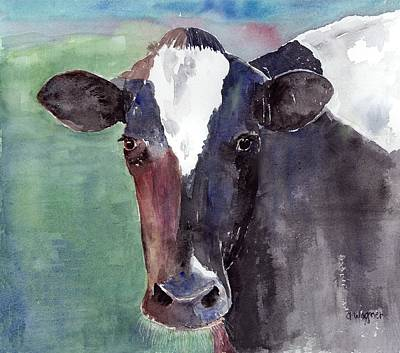 Cows Painting - Cow Portrait by Arline Wagner