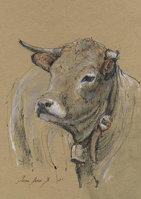 Cow Art Painting - Cow Portrait Painting by Juan Bosco