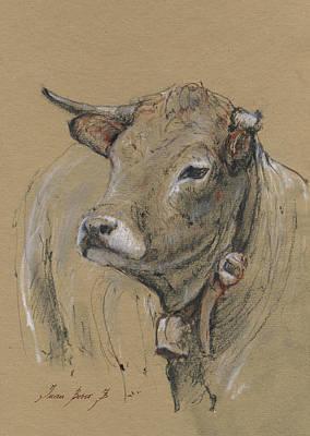 Cow Portrait Painting Original by Juan Bosco