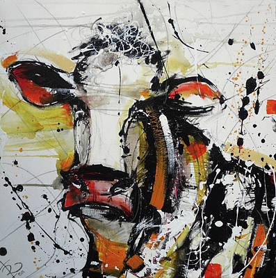 Cows Painting - Cow Print by Irina Rumyantseva