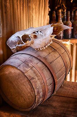 Photograph - Cow Skull Atop An Oak Barrel  by Saija  Lehtonen