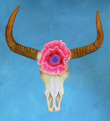 Modernist Mixed Media - Cow Skull With Poppy by Carolanne Brosious