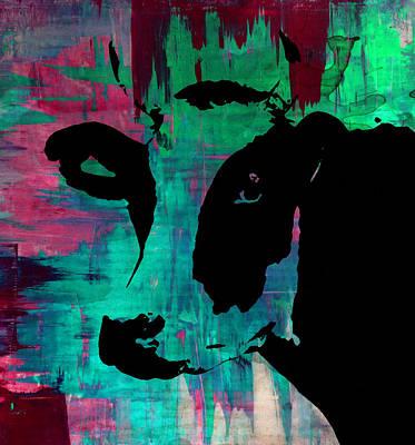 Raising Digital Art - Cow Sunset Rainbow - Poster Print by Robert R Splashy Art Abstract Paintings