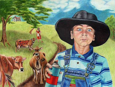Drawing - Cow Tagging by Jackie Little Miller