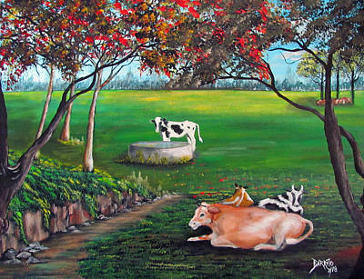 Painting - Cow Tales by Gloria E Barreto-Rodriguez