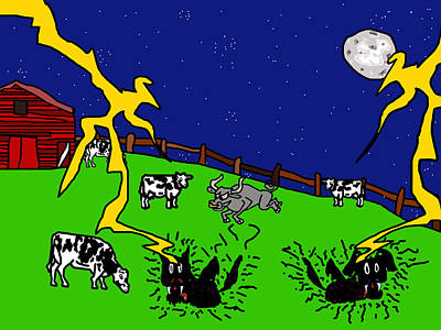 Cow Tipping Art Print by Jera Sky