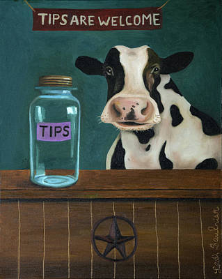 Painting - Cow Tipping by Leah Saulnier The Painting Maniac