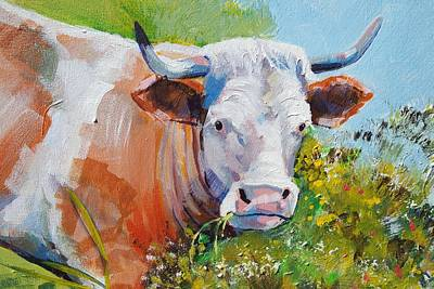 Painting - Cow With Horns by Mike Jory