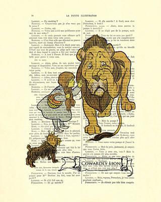 Wizard Of Oz Digital Art - Cowardly Lion, The Wizard Of Oz Scene by Madame Memento