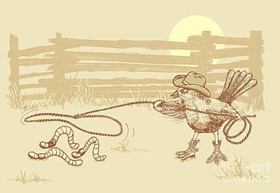 Western Art Digital Art - Cowbird by Laura Brightwood