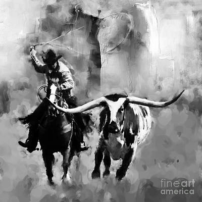 Rodeo Painting - Cowboy-09889b by Gull G