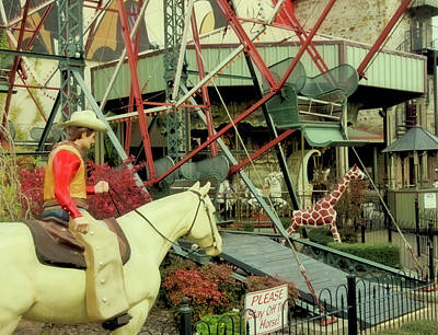 Photograph - Cowboy And Giraffe Amusement Park by Tony Grider