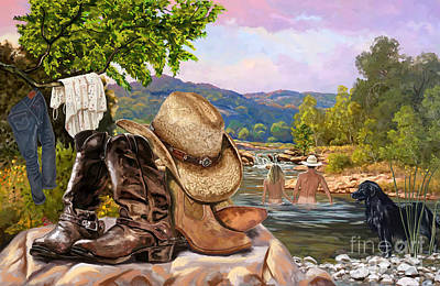 Painting - Cowboy And Girl Skinny Dipping by Tim Gilliland