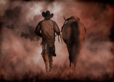 Photograph - Cowboy And Horse Coming Home Iv by Athena Mckinzie