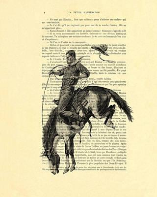 Clip-art Digital Art - Cowboy And Horse, Western Art by Madame Memento