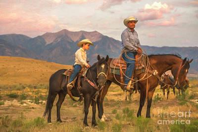 Digital Art - Cowboy And Son by Diane Diederich