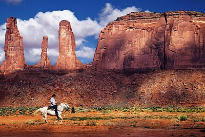 Cowboy And Three Sisters Art Print by William Lee