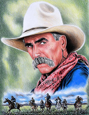 Sky Blue Drawing - Cowboy by Andrew Read