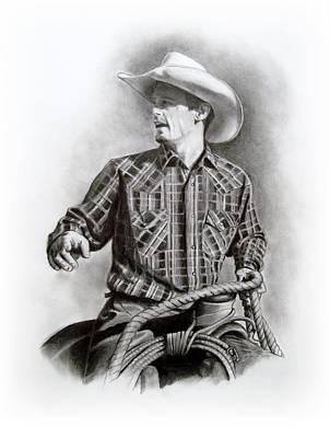 Rodeo Art Drawing - Cowboy At Work by Joyce Geleynse