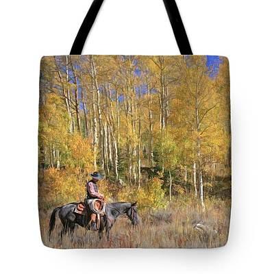 Horse Handbag Photograph - Cowboy At Work - Tote by Donna Kennedy