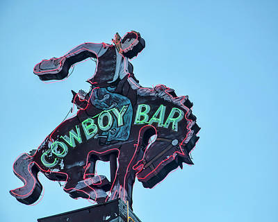 Photograph - Cowboy Bar Vintage Neon Sign Photograph Western Wall Art by Gigi Ebert