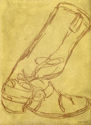 Drawing - Cowboy Boot by Valerie Reeves