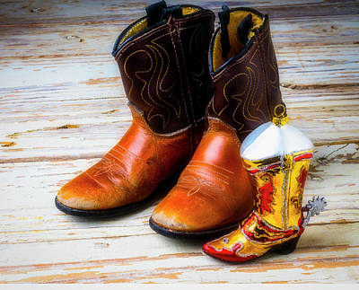 Photograph - Cowboy Boots And Boot Ornament by Garry Gay